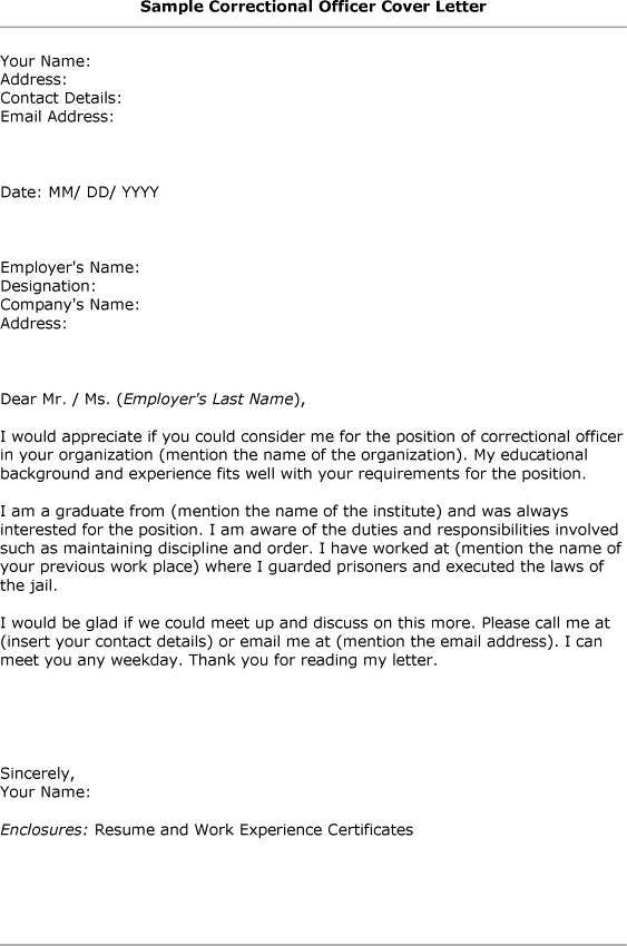 corrections officer cover letter - Text