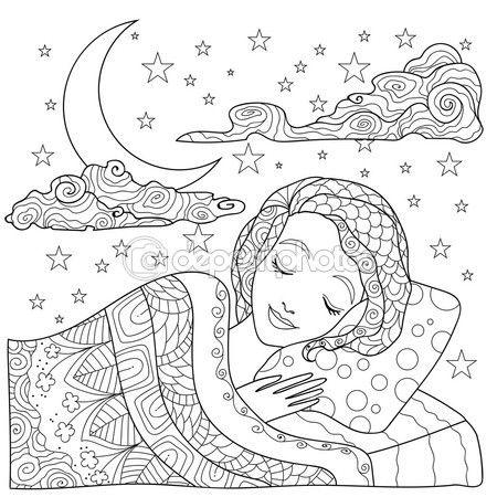 Página para colorear de mano chica dibujada. Linda chica dormir ...