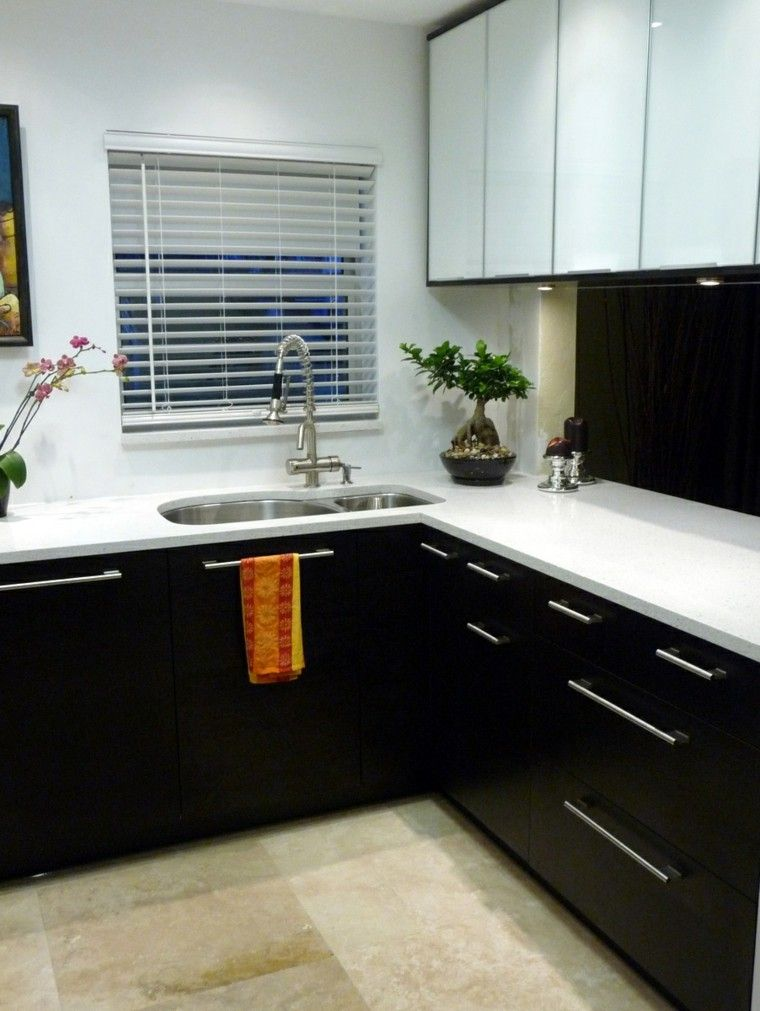 Cocinas blancas negras flores toalla dise o casa for Cocina blanca y negra
