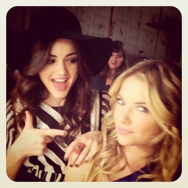 Lucy Hale (Aria) and Ashley Benson (Hanna) on the set of Pretty Little Liars. #PLL