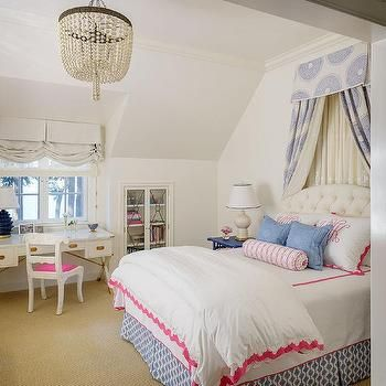 White and Blue Girls Bedroom with Blue Bed Valance and Drapery Panels