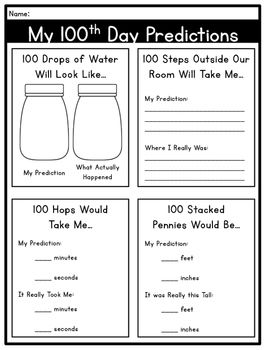 100th Day Of School Free Math Literacy Activities 100 Days Of School Math Literacy Activities 100th Day
