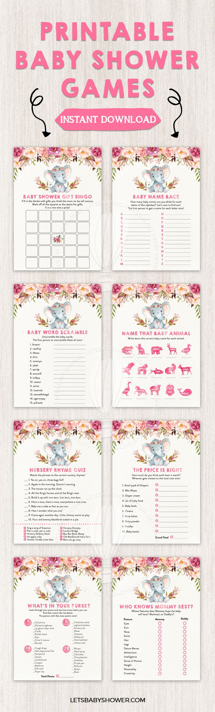 Elephant Baby Shower for Girls Baby Shower Game Printables ...