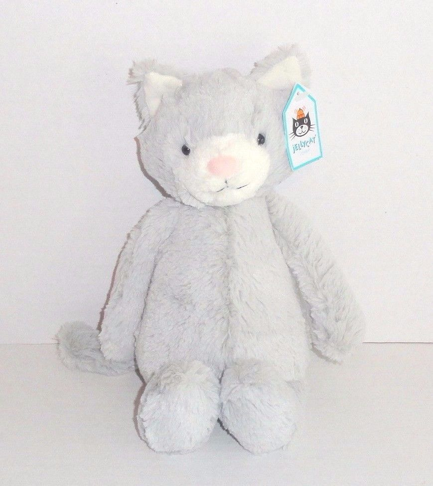 New Jellycat Medium Bashful Kitty Plush Gray White Cat Bas3kyn Retired Nwt P20 Jellycat Plush Toys Grey And White Cat Jellycat Kitty