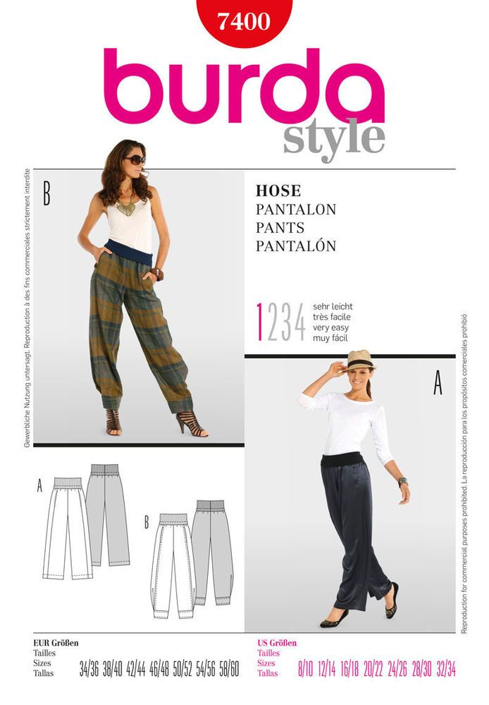 Burda Ladies Easy Sewing Pattern 7400 - Harem Pants Sizes: 8-34 ...