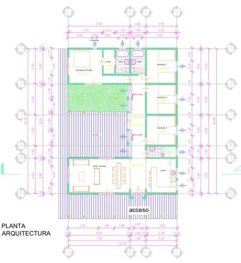 Descargar plano de casa de campo en Autocad ▷ Con Medidas