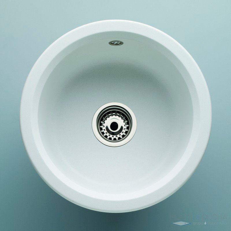 Fregadero de cuarzo isla con 1 seno circular posibilidad de instalar bajo encimera y sobre - Fregaderos de colores ...