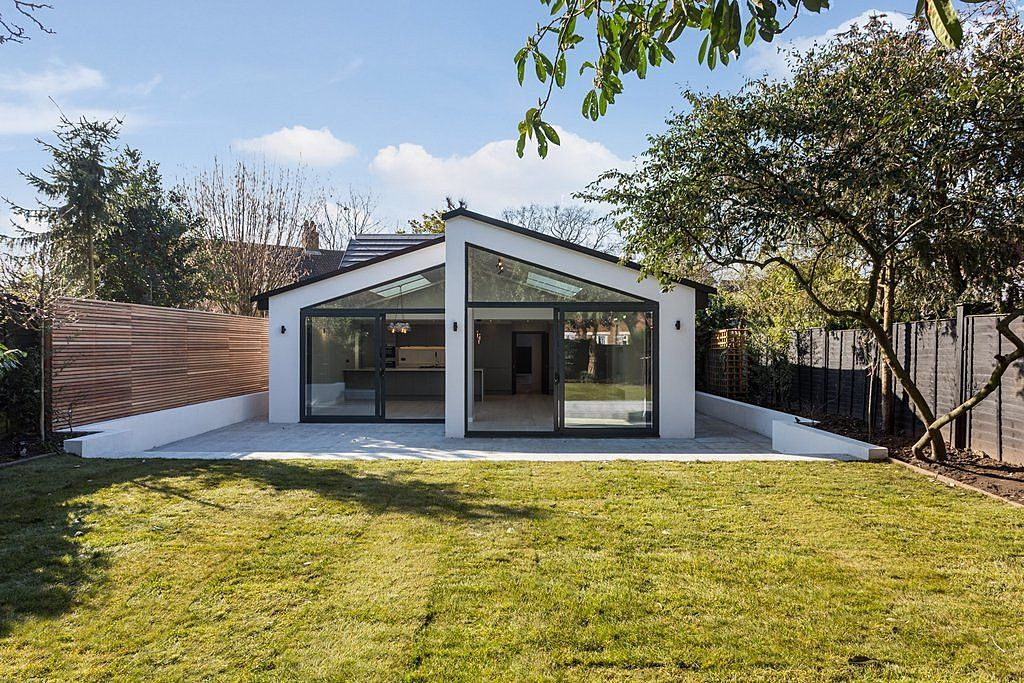Stunning double pitched roof extension with striking