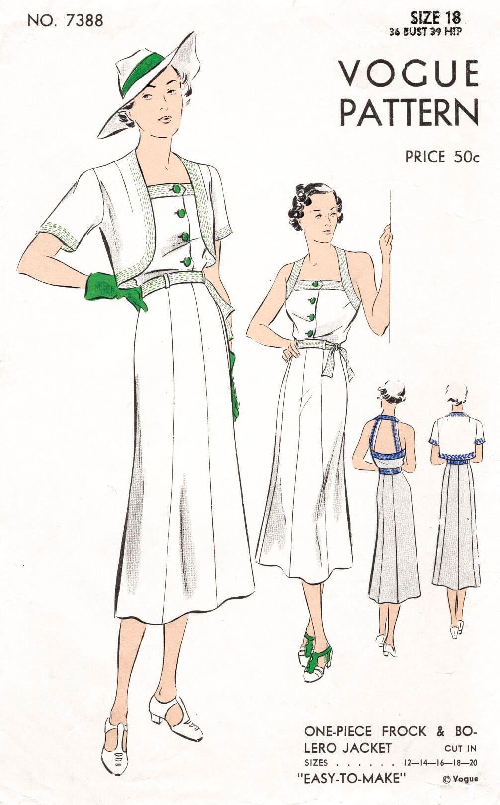 Vogue 7388 1930s Sportswear Halter Dress Crop Jacket Vintage Sewing Pattern  Reproduction