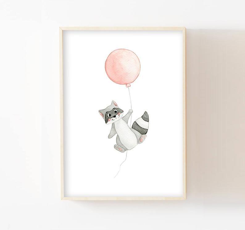 Affiche Bebe Aquarelle Raton Laveur Et Son Ballon Cadeau