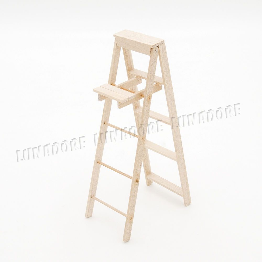 Wooden Folding Step Ladder With Paint Shelf Miniature Furniture 1 12 Dollhouse 7467322749346 Ebay Miniature Furniture Step Ladders Dollhouse Accessories