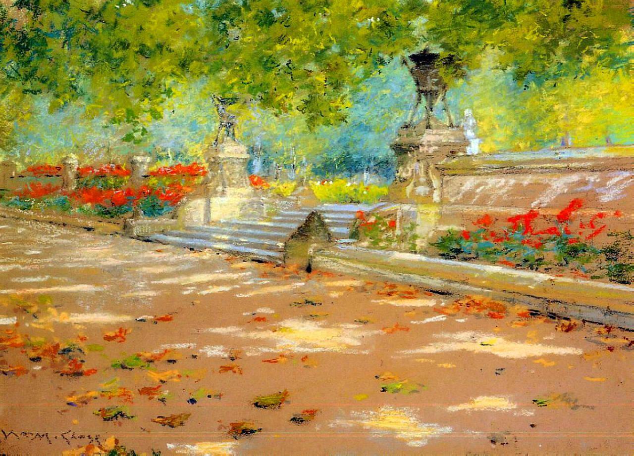 William Merritt Chase, Terrace, Prospect Park (c 1886), pastel on paper