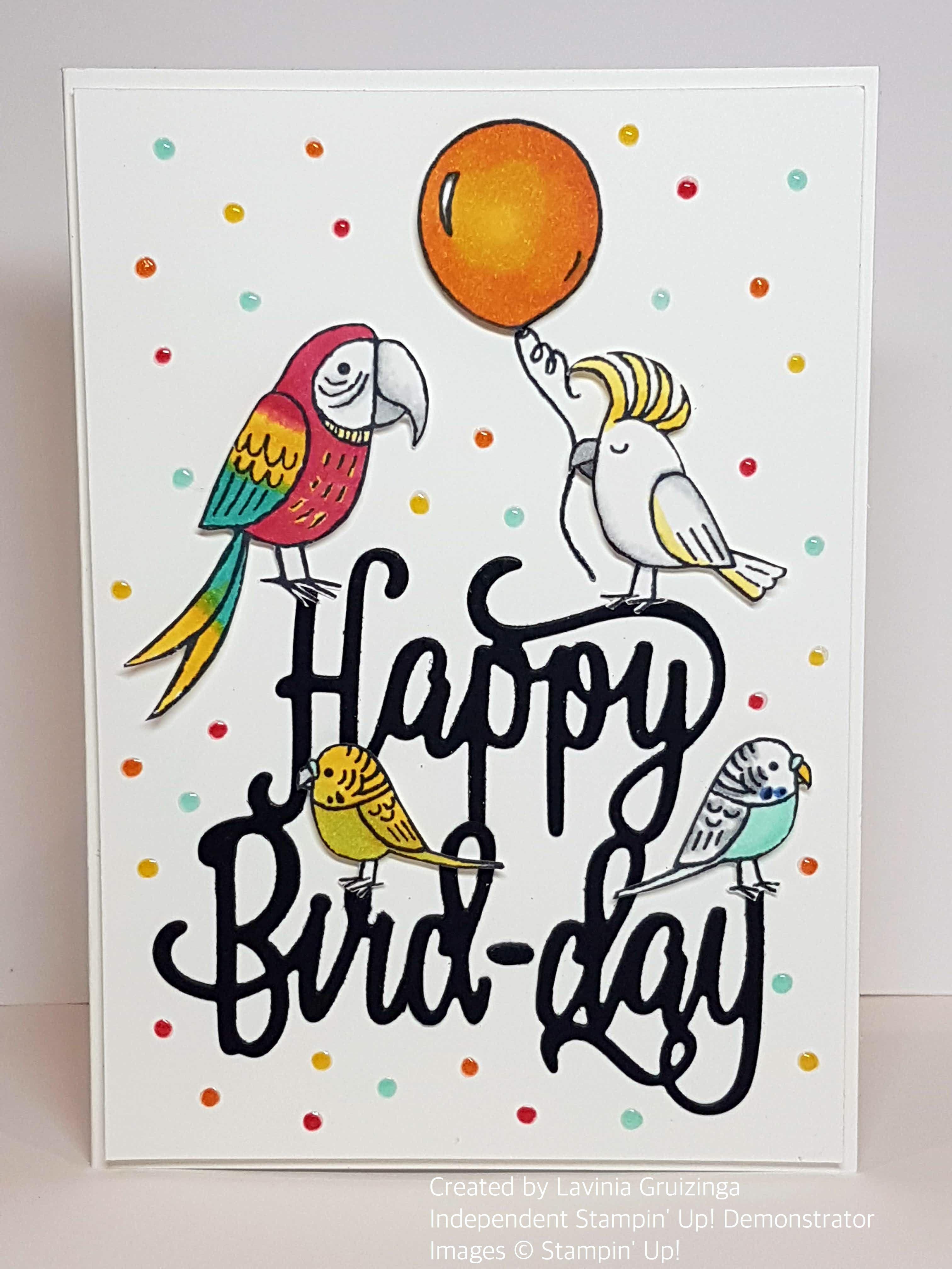 Stampin Up Bird Banter Stamp Set And Happy Birthday Thinlits Die