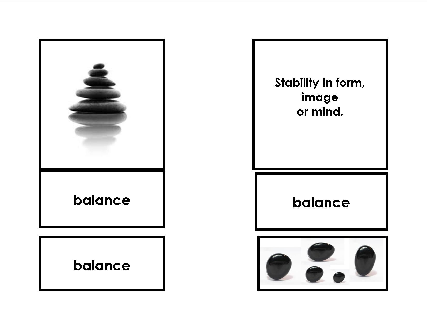 Lesson in Mindfulness: Balance. These 3 part cards are for