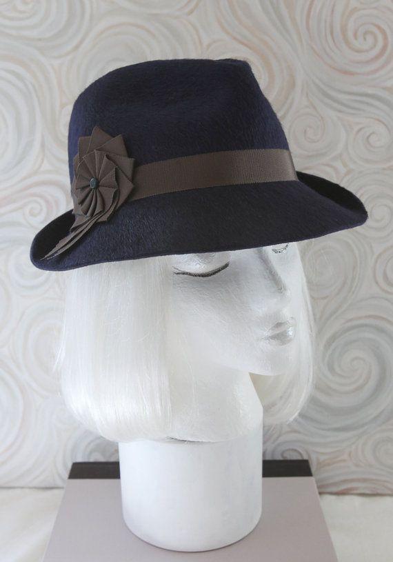 a413ab73a1488 Navy Blue Fur Felt Women s Fedora. 1930s Vintage Style Millinery ...