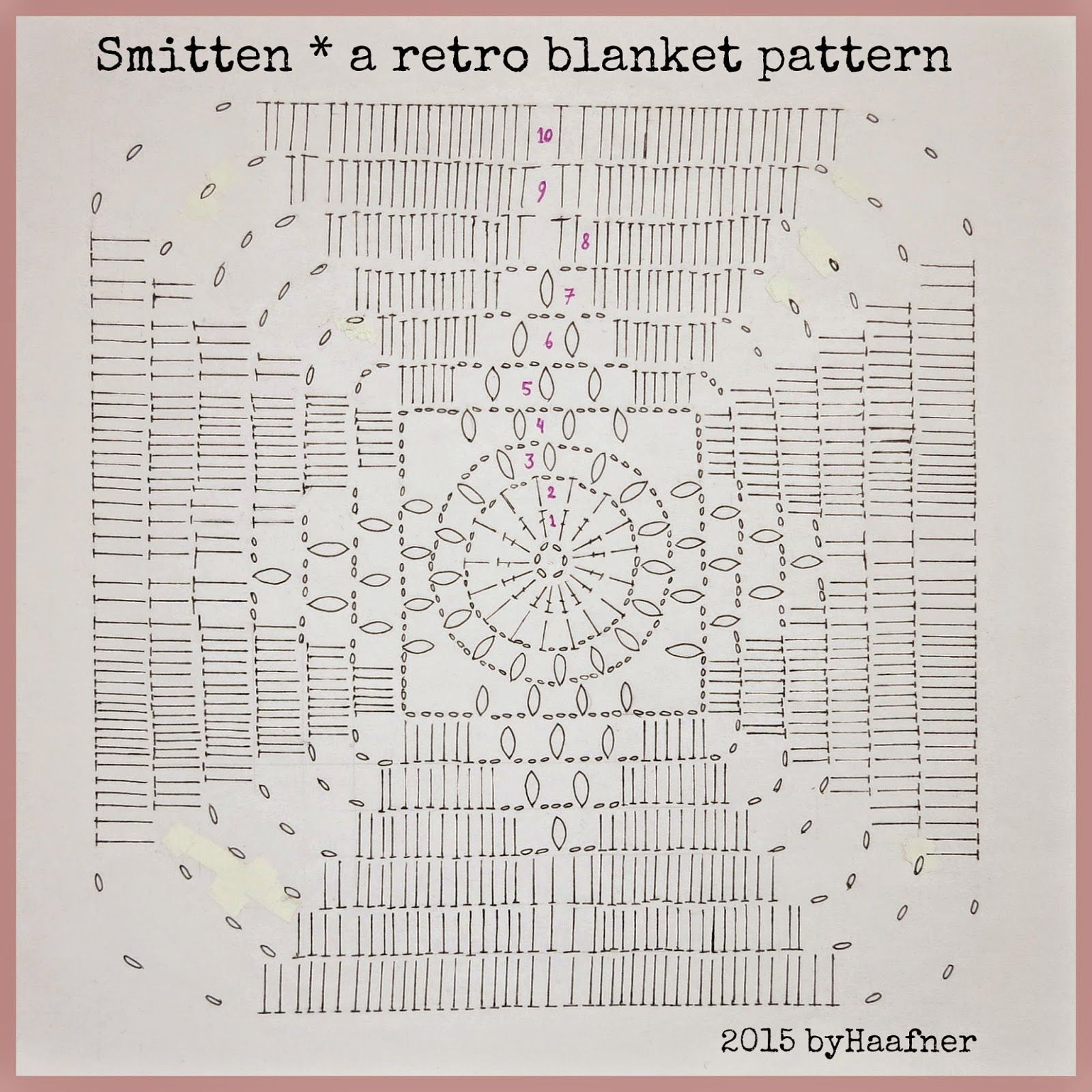 chart for the smitten blanket free pattern by byhaafner to
