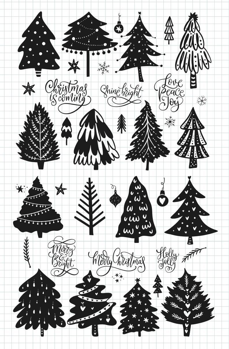 Christmas Tree Svg Christmas Clip Art Merry Christmas Stencil Etsy In 2020 Christmas Svg Clip Art Winter Clipart