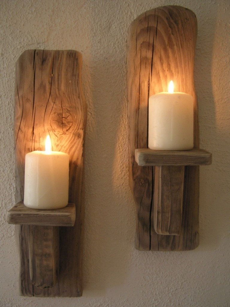 Treasury Item 2 Irish Driftwood Wall Candle Sconces Made In
