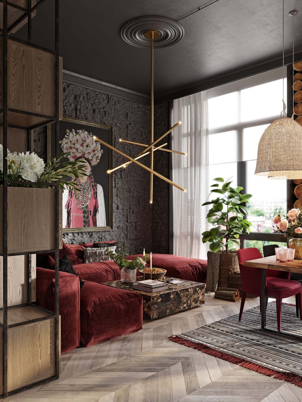 Modern Room Designs And Colors: A Plush Red Apartment With Rustic Accents