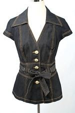Bisou Bisou Size L Dark Wash Denim Belted Short Sleeve Blazer 680 L317