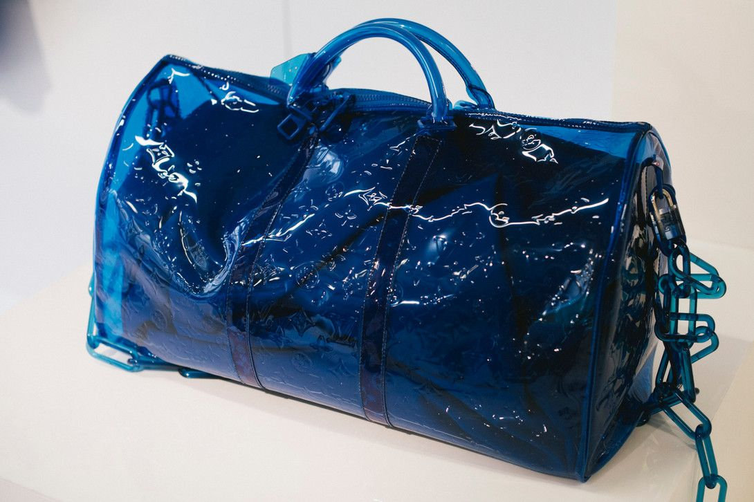ab2cb128d19f Virgil Abloh Louis Vuitton Spring Summer 2019 Transparent Keepall Bag Blue
