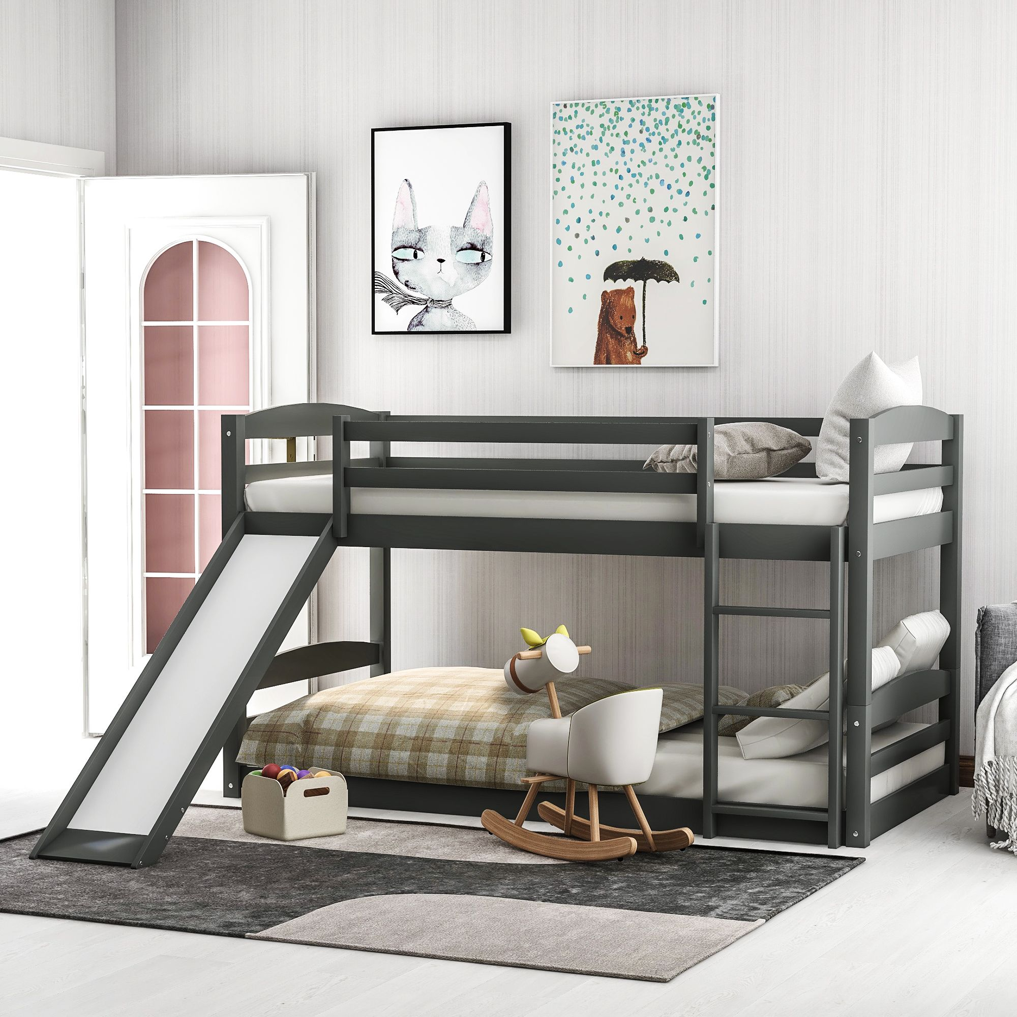 Dillon Extra Long Twin Over Twin Bunk Bed Twin Bunk Beds Modern Bunk Beds Bed Interior