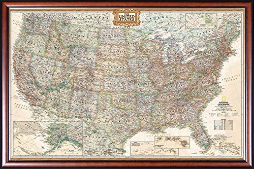 FRAMED Executive US Push Pin Travel Map 24x36 Poster Dry Mounted in Executive Series Walnut Wood Frame With Gold Lip  Crafted in USA >>> More info could be found at the image url.Note:It is affiliate link to Amazon. #PosterPrint