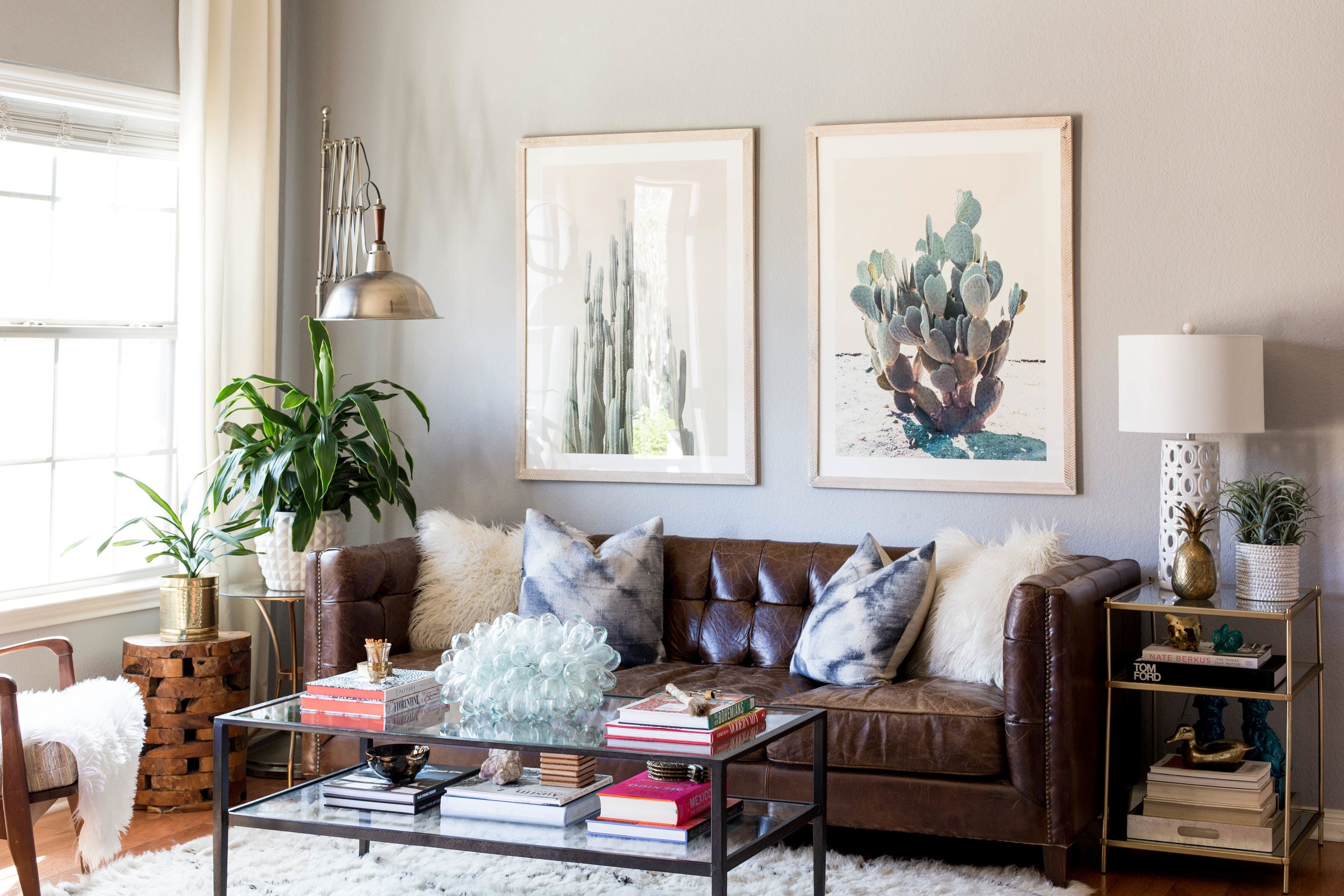 An austin house evolves into california cool home ideas - Brown sofa living room decor ideas ...