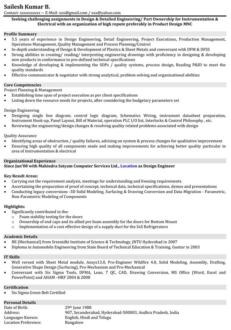 Automobile Resume Samples Mechanical Engineer Resume Format