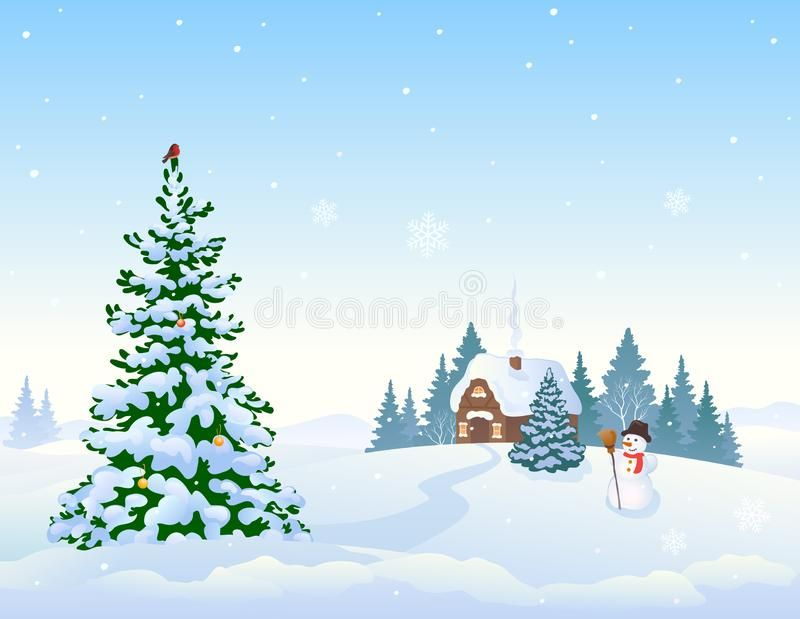 Winter Landscape Background And Christmas Tree Vector Cartoon Drawing Of A Winter Landscape Background Landscape Background Winter Landscape Cartoon Drawings
