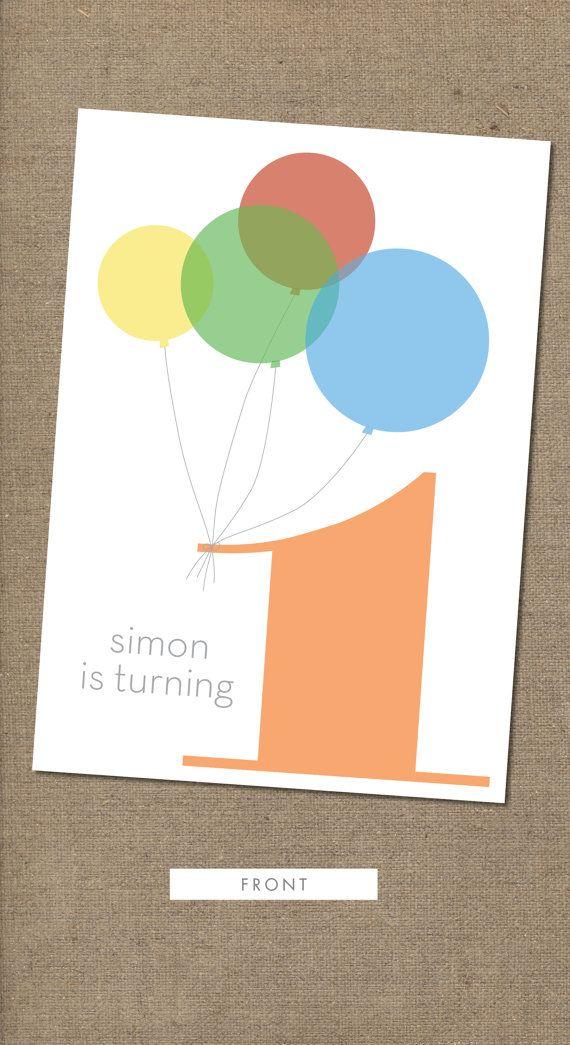 Birhtday Balloon Boy Twosided 1st birthday invitation by BoNotes ...