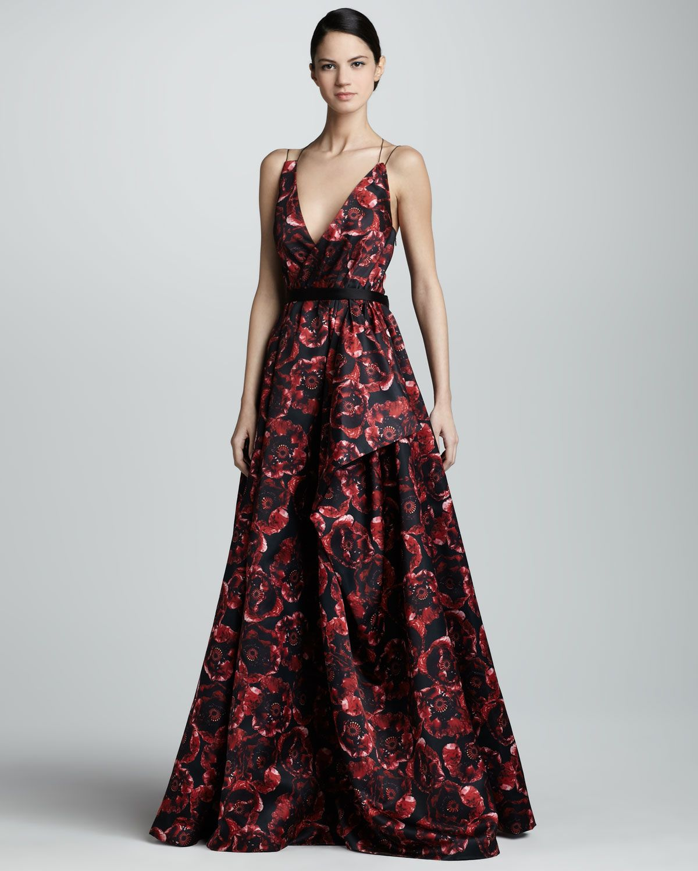 Jason Wu Printed Silk Ball Gown, Ruby/Black - Neiman Marcus ...