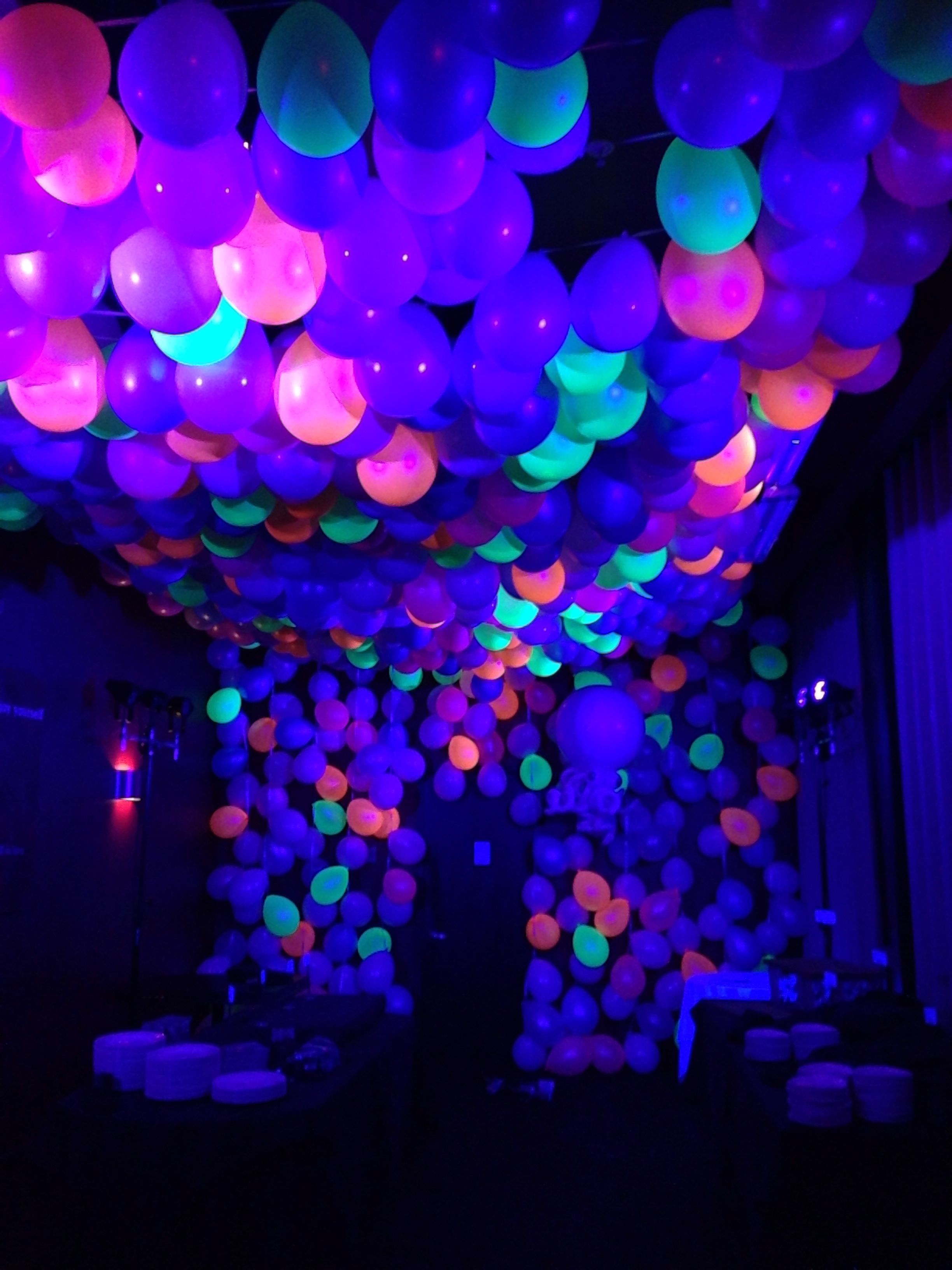 "5 Happy Birthday Neon Glow 18/"" Balloons Birthday Party Decorations"