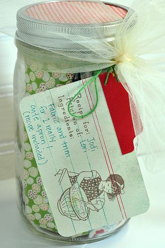 this would be cute for a kitchen shower- apron in a jar with a recipe card