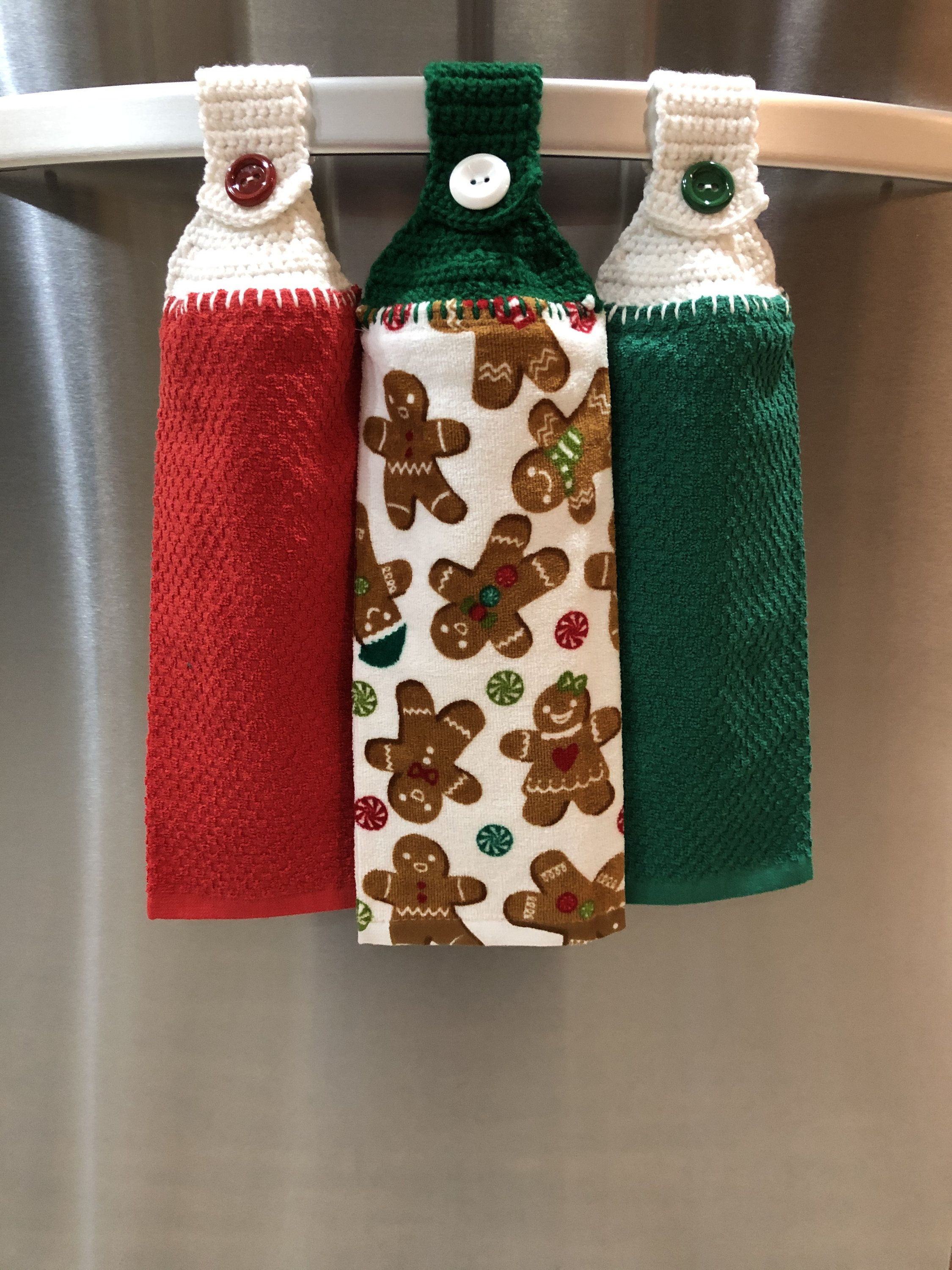 Christmas Crochet Top Kitchen Towel Hanging Dish Towel Button