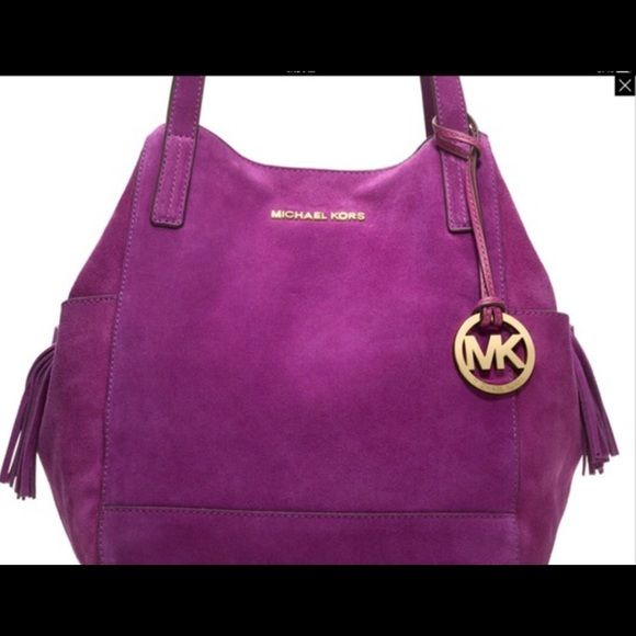 cbc6af2065fa Authentic Michael Kors Purple Suede Bag Authentic Michael Kors Purple Suede  Bag. Some stains on the bottom of bag shown in the last pic.
