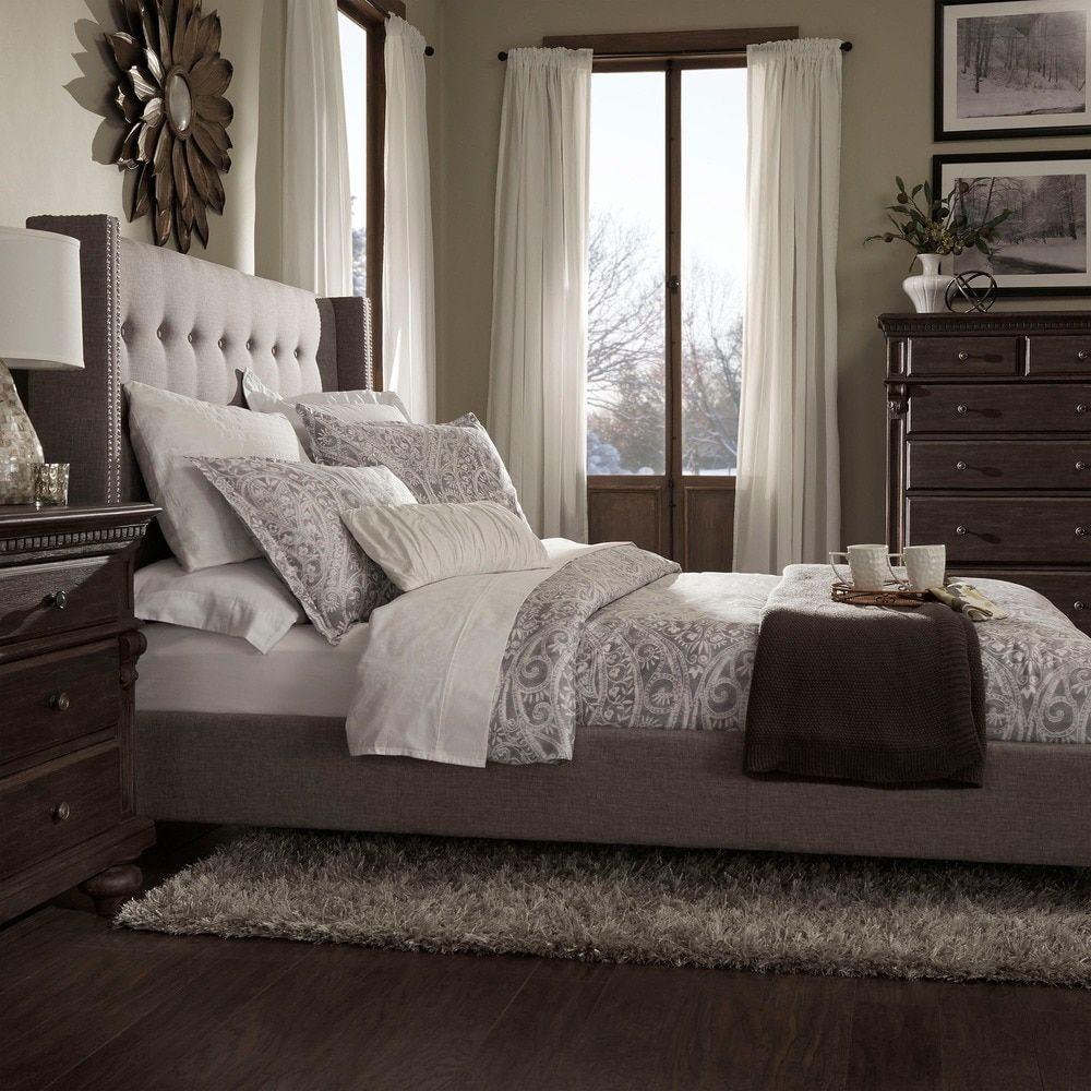 inspire q marion nailhead wingback tufted upholstered king bed gray linen chambre tetes de lit