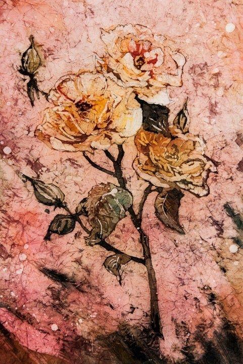 Yellow Rose - Watercolor Batik. Linda Virio
