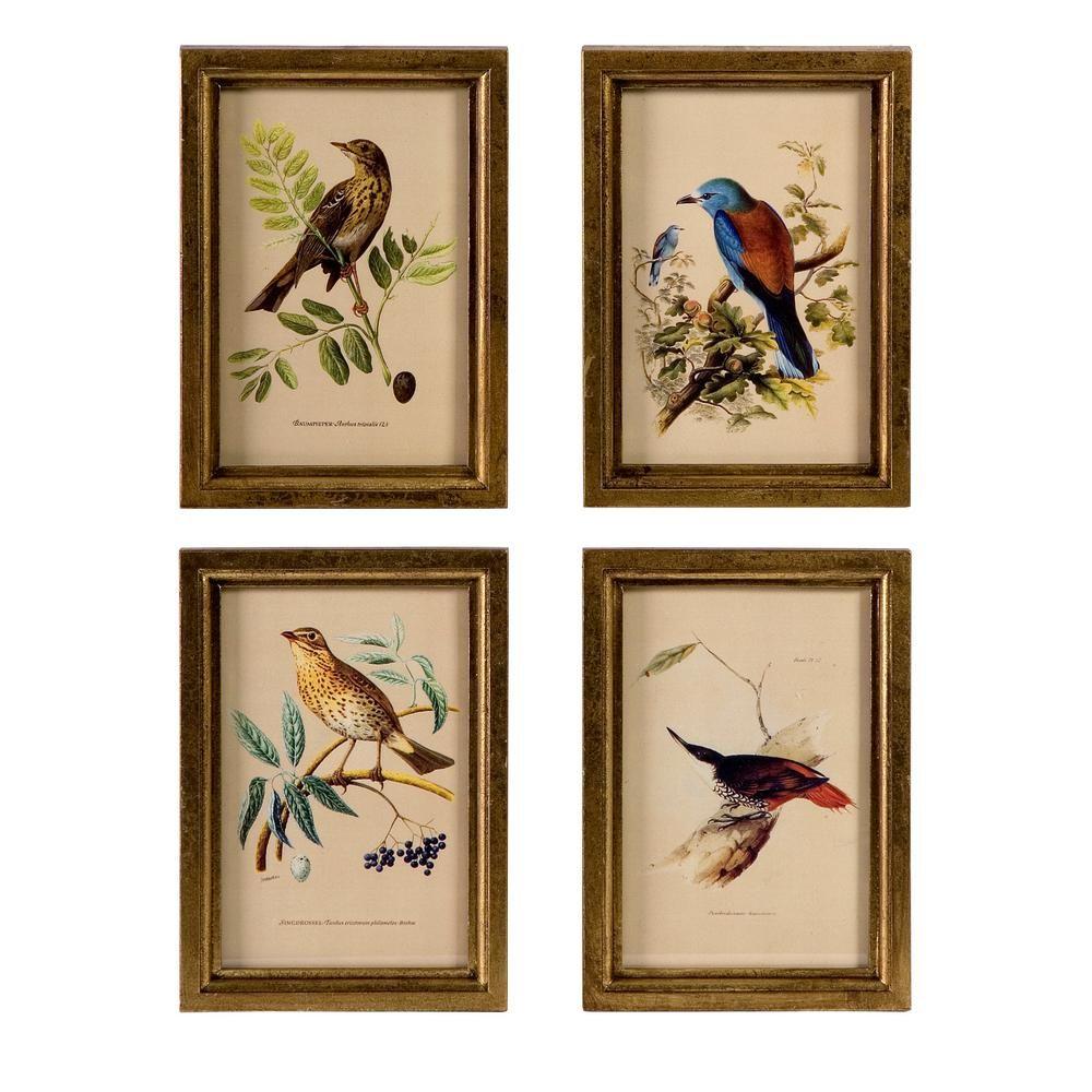 Imax Worldwide Home Brown Wooden Plaques 4 Pack Bird Wall Art Framed Wall Art Sets Frames On Wall