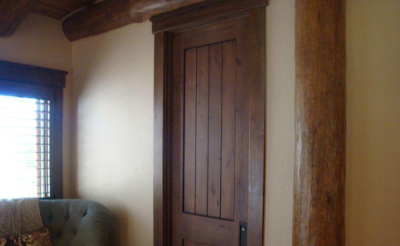 Knotty Alder 1 3/4u201d Interior Door, 2 Panel Plank Square