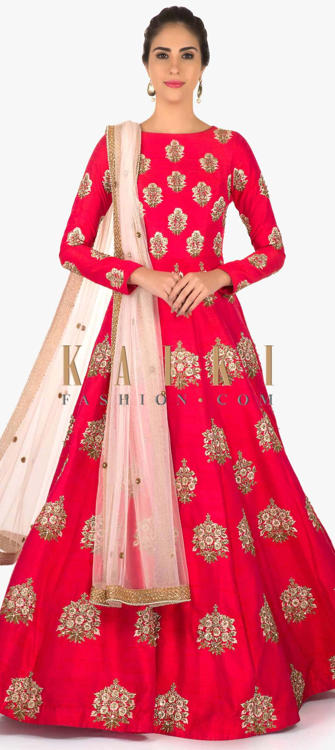 Rani pink raw silk anarkali suit with shimmer dupatta only on Kalki ...