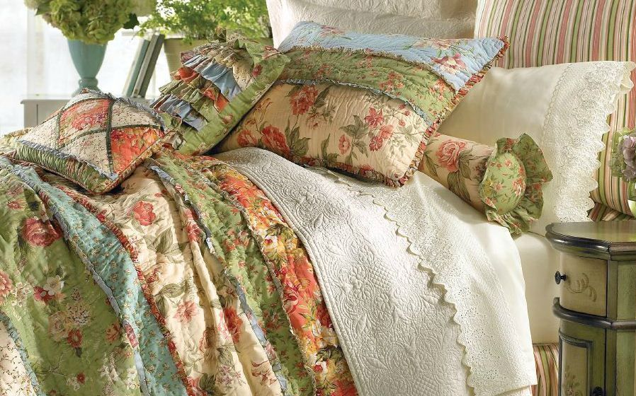 Garden Dream King Quilt Set Country Cottage Rag Patch Floral