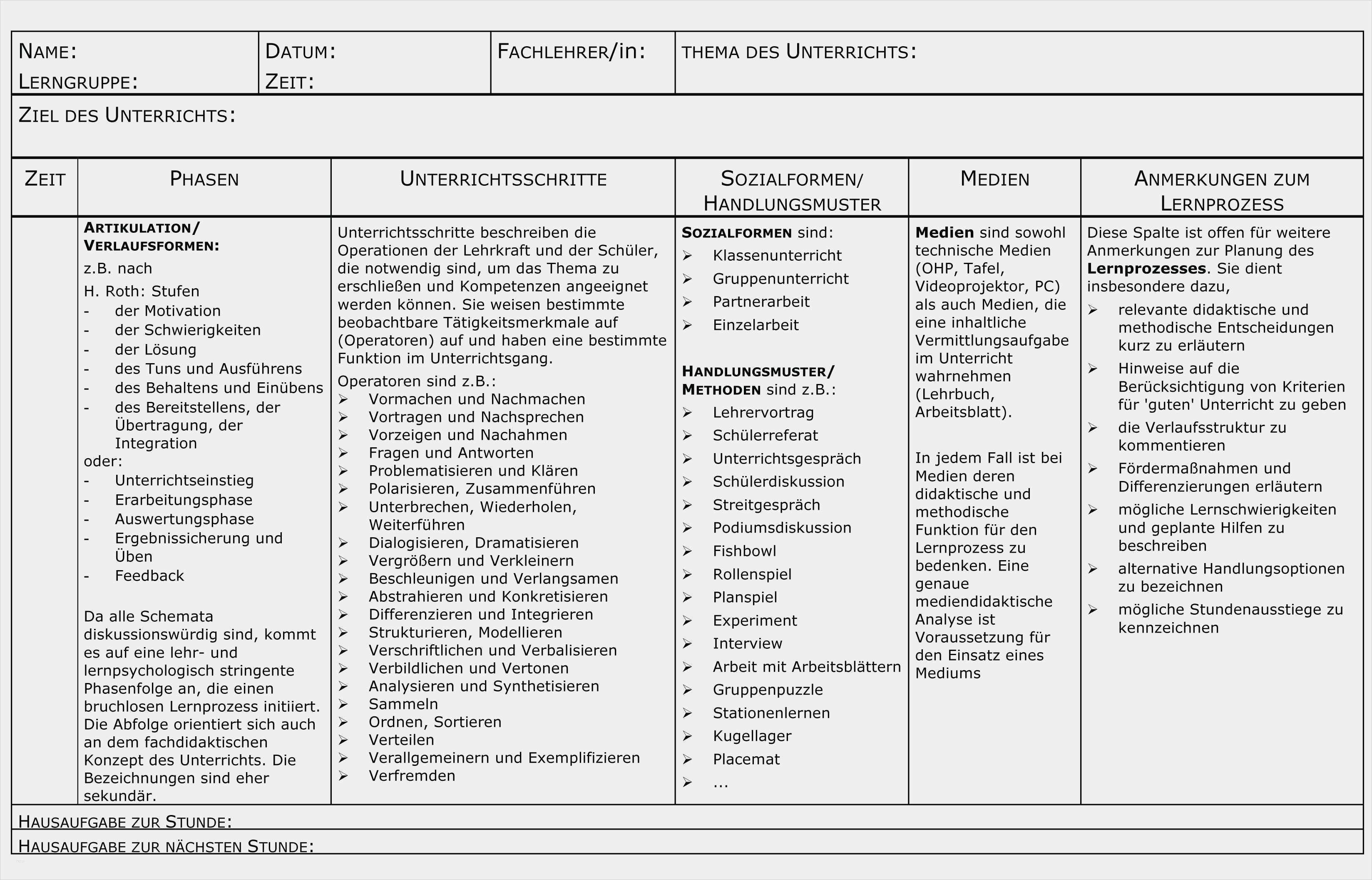 31 Best Of Unterrichtsentwurf Vorlage Grundschule