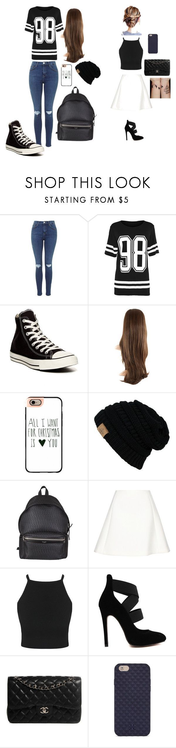 #Black #combo #Rainy Day Outfit with converse #white Black and white combo        Black and white combo by ciani-johnson on Polyvore featuring Converse, Casetify, Yves Saint Laurent, Neil Barrett, Chanel and Tory Burch #rainydayoutfitforwork