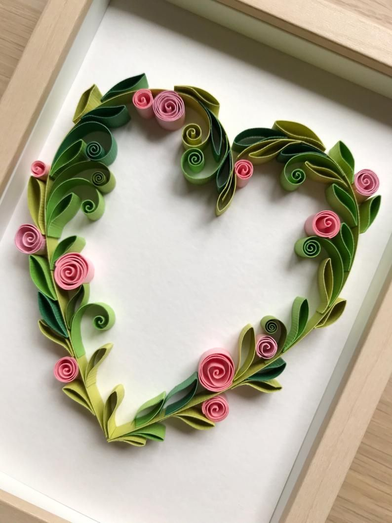 Quilling Floral Heart - Original love gift for her - Handcrafted Valentine's Day card