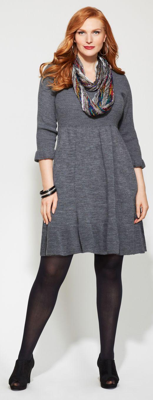 Ruffle Hem Sweater Dress Love Yourself No Guilt Plus Size Full