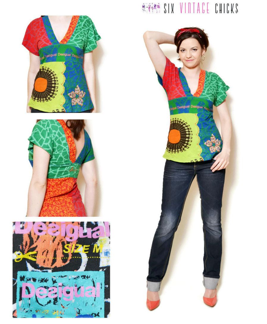 Print Tshirt Vintage Desigual Women Clothing Sexy Tops 90s Womens Gifts Hippie Boho