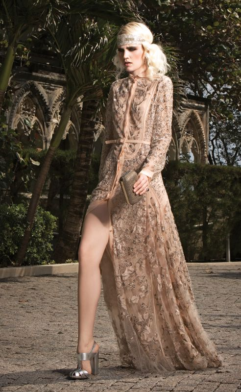 Valentino Peach Long Sleeve Gown With Silver Fl Embroidery From Great Gatsby Inspired Fashion Editorial Photo By Gian Andrea Di Stefano