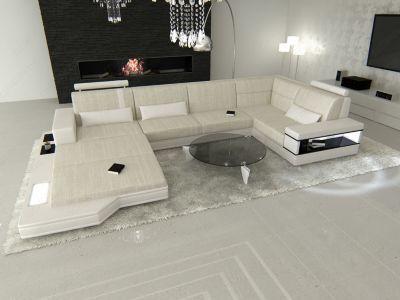 Sofa Dreams Berlin Stoff Wohnlandschaft Materialmix MESSANA U-Form - designer mobel materialmix