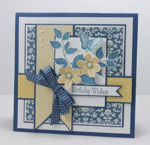 handmade birthday card square format lots of matted layers - birthday cards format